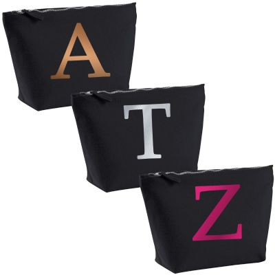 Single Letter METALLIC Printed Black Make Up Wash Bag - Alphabet A-Z Initial